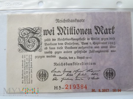 Zwei Milionen Mark 1923r.