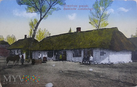 Kartka pocztowa krajobraz wiejski