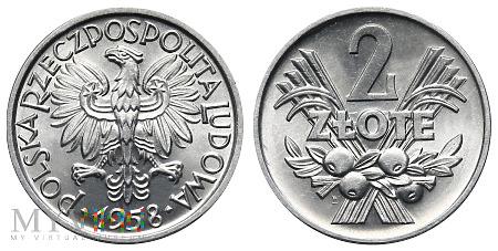 """Duże zdjęcie 2 złote, 1958, tzw. """"Jagody"""""""