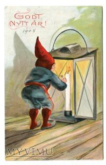 1908 NOWY ROK Szwecja krasnal, lampa, świeczka