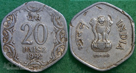 Indie, 20 Paise 1982