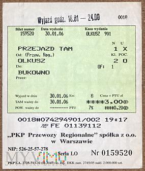Bilet PKP Olkusz