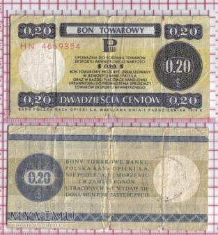 bon towarowy-PRL- 20 centów
