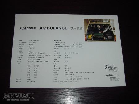 Prospekt FSO 125p AMBULANCE (po chińsku)