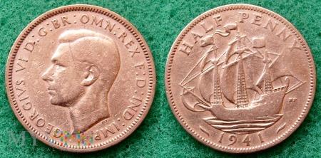 Wielka Brytania, half penny 1941