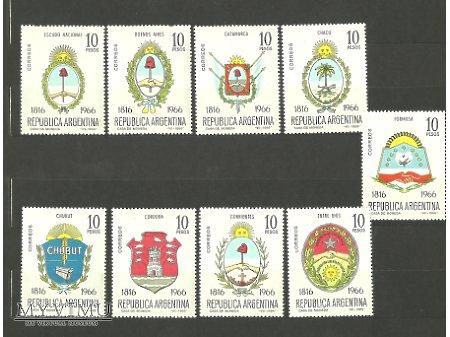 Argentyńskie znaczki z godłami.