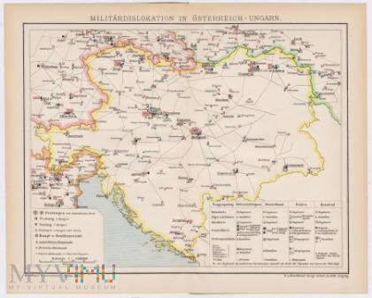 Mapa MILITÄRDISLOKATION IN ÖSTERREICH-UNGARN.