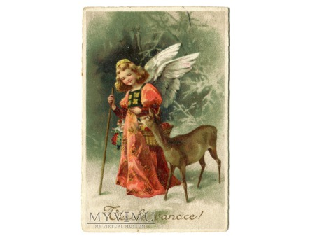 Anioł i sarna WESOŁYCH ŚWIĄT życzenia l. 30-te