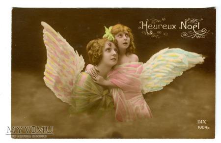 Anioły Boże Narodzenie Pocztówka Heureux Noël