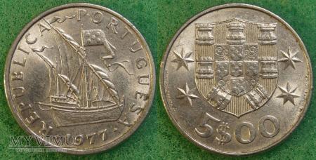 Duże zdjęcie Portugalia, 5 ESCUDOS 1977