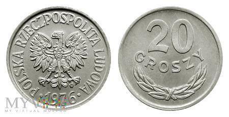 Duże zdjęcie 20 groszy, 1976, odmiana B
