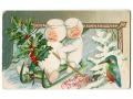 Wesołych Świąt Bałwanki na sankach John Winsch
