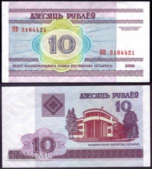 Białoruś, 10 rubli 2000r
