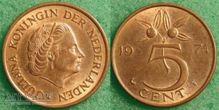 Holandia, 1974, 5 centów