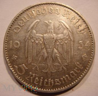 Duże zdjęcie 5 Reichsmark 1934 A