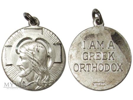Duże zdjęcie Grecki prawosławny srebrny medalion religijny