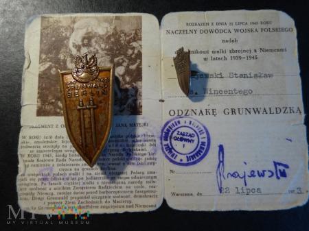 Duże zdjęcie Legitymacja i Odznaka Grunwaldzka 22 lipiec 1973r.