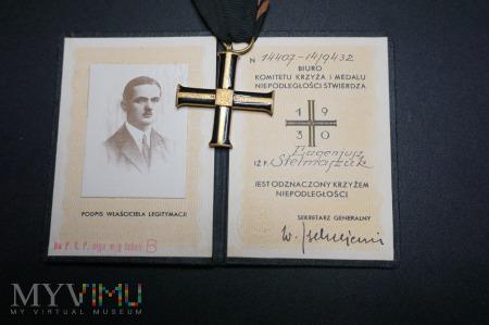 Legitymacja do Krzyża Niepodległości II RP