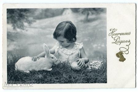 Duże zdjęcie c. 1940 Wielkanoc Heureuses Pâques Francja