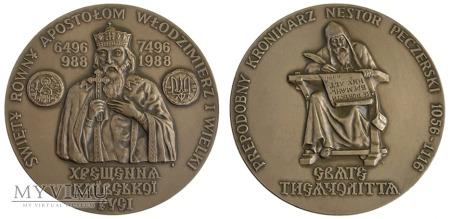 Tysiąclecie Chrztu Rusi (Nestor) medal 1988 (pl.)