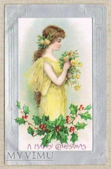 Wesołych Świąt Dziewczyna z różami , ostrokrzew