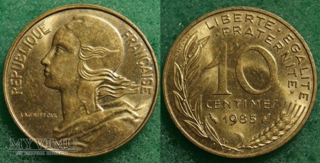 Francja, 10 Centimes 1985