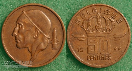 Belgia, 50 Centimes 1955