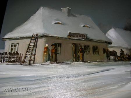 Karczma w zimie - olej