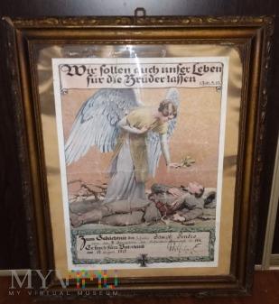 Zawiadomienie o śmierci żołnierza 1917