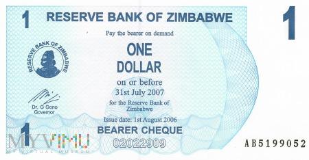 Zimbabwe - 1 dolar (2006)