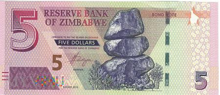 Zimbabwe - 5 dolarów (2016)