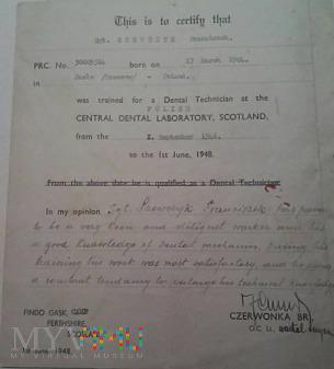 Certyfikat z 1948 roku - Szkocja