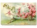 1907 USA Wielkanoc róże i kurczak stara pocztówka