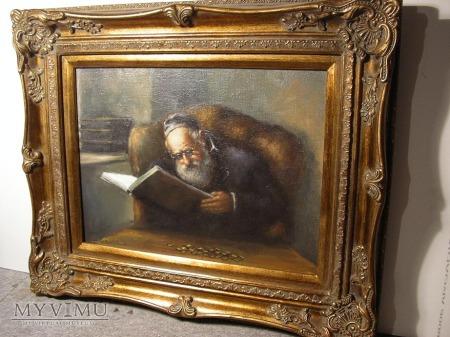 Duże zdjęcie Portret Żyda bogata rama ornamentowa