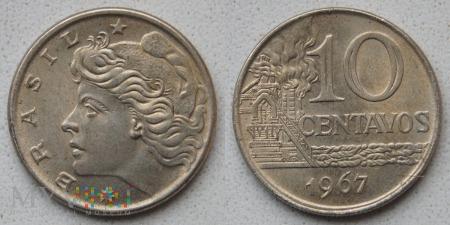 Brazylia, 10 centavos 1967