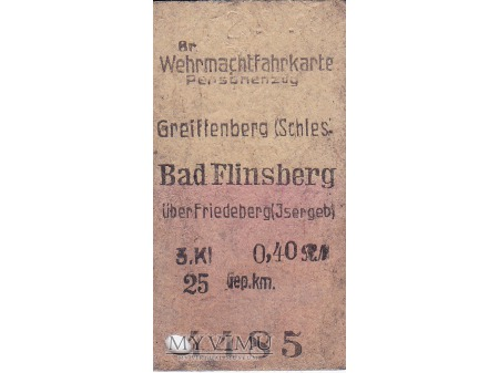 Wermachtfahrkarte Greiffenberg-Bad Flinsberg