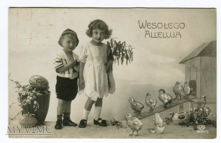 Duże zdjęcie 1928 WESOŁEGO ALLELUJA dzieci z kurczaczkami