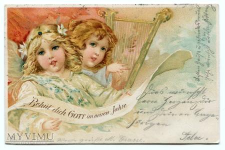 Duże zdjęcie 1900 Anioły Sagan Żagań Chromolitografia Angels