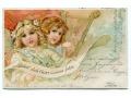 1900 Anioły Sagan Żagań Chromolitografia Angels