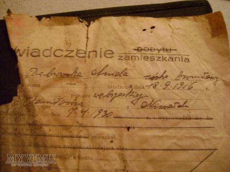 zaświadczenie polskie z 1930 roku