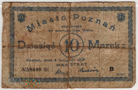 04.11.1919 - 10 Marek - Poznań -seria B