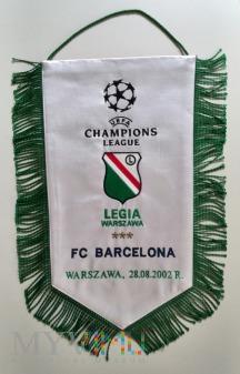 Duże zdjęcie Proporzec Legia Warszawa-FC Barcelona 2002