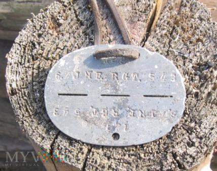 Niemiecki nieśmiertelnik 6./ INF. RGT. 543