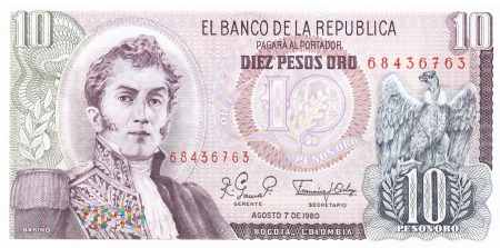 Kolumbia - 10 pesos oro (1980)