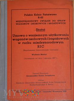 R63-1958 Umowa o wagonach w komunikacji RIC
