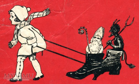 1931 Diabeł i Święty Mikołaj Krampus postcard