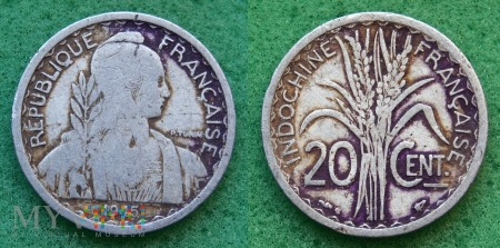 Indochiny, 20 centimes 1945
