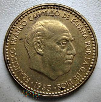 1 peseta 1953 r. Hiszpania
