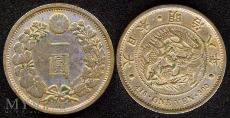 Japonia, 1 yen 1875 (replika pozłacana)