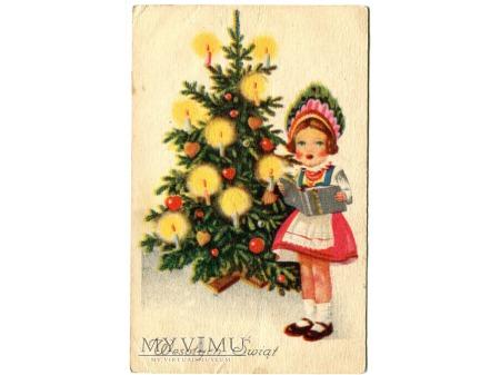 Wesołych Świąt Dziewczynka Choinka i Kolęda